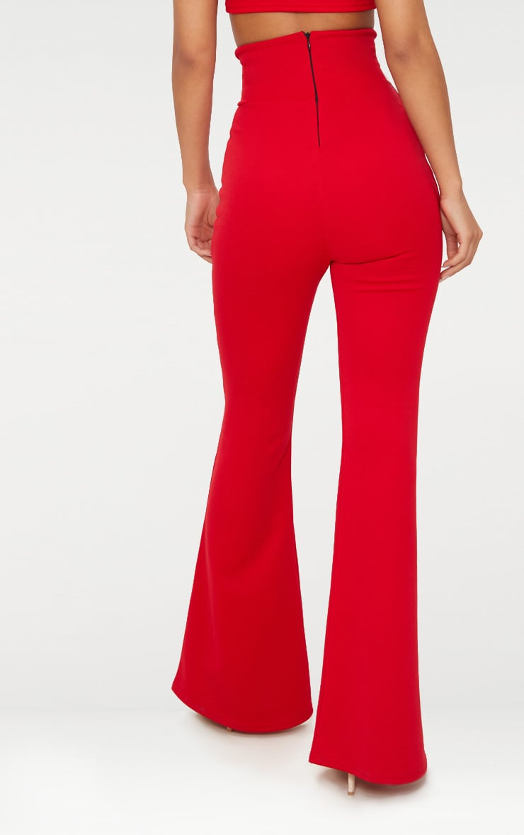 Red Scuba Curve Waist Band Detail Flared Pants  4