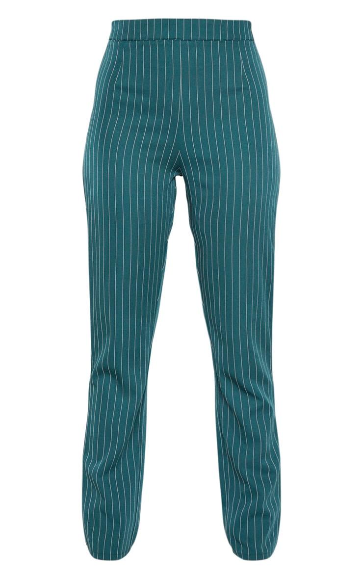Jasper Green Pinstripe High Waisted Straight Leg Pants 3