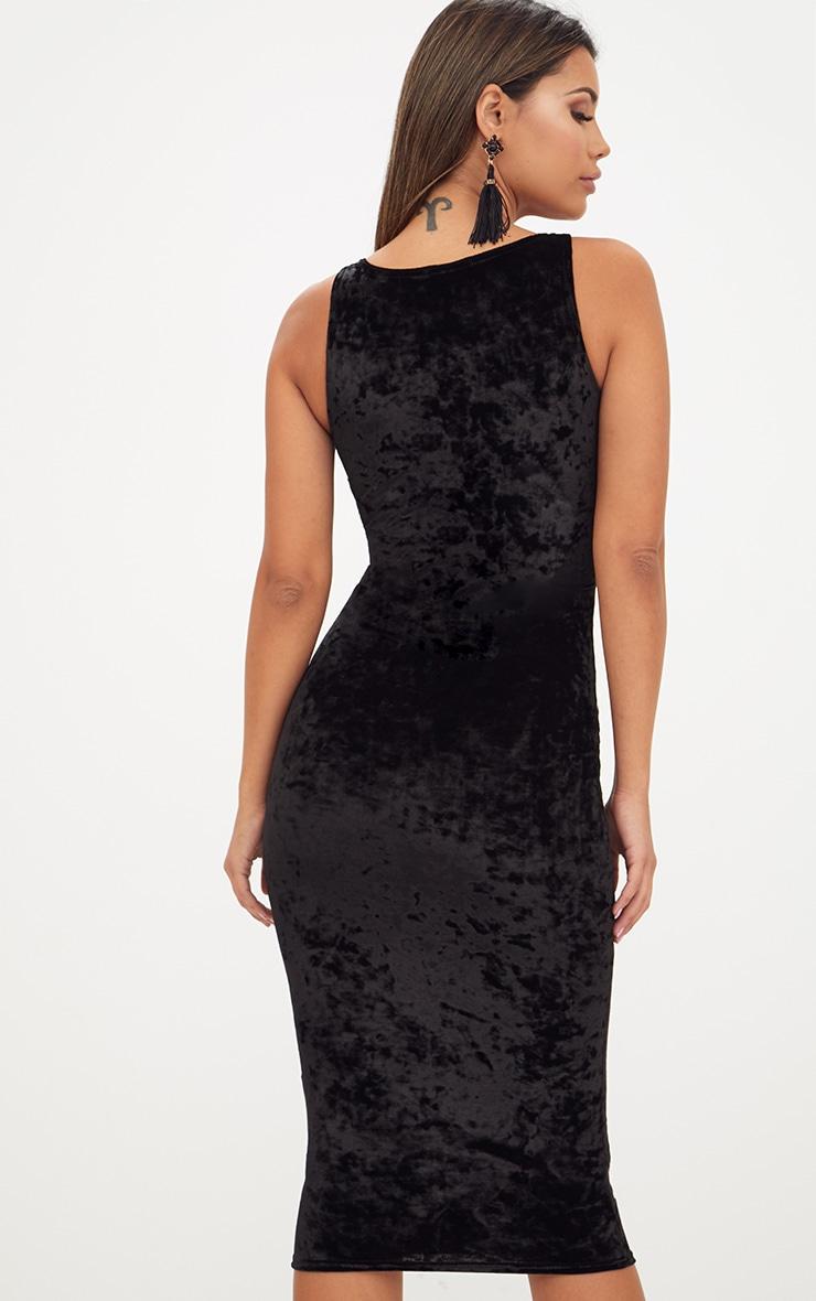 Black Square Neck Velvet Midaxi Dress 2