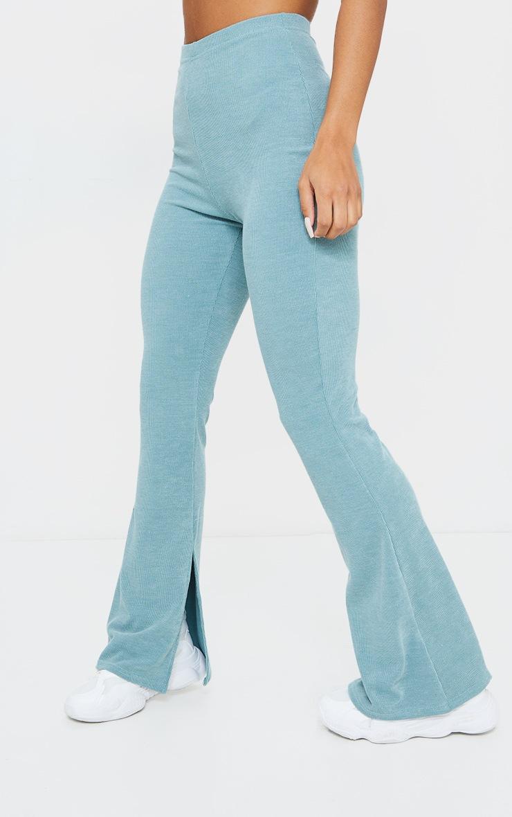 Washed Green Rib Split Hem Skinny Kickflare Trousers 2