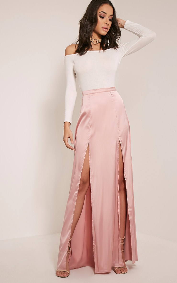 61dc8e467 Marina Blush Satin Split Maxi Skirt | Skirts | PrettyLittleThing USA