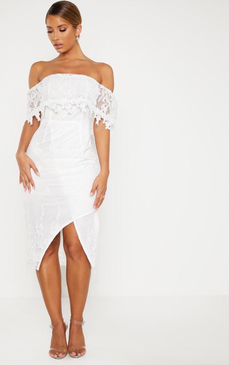 Plus white lace bardot bodycon dress halter large sizes