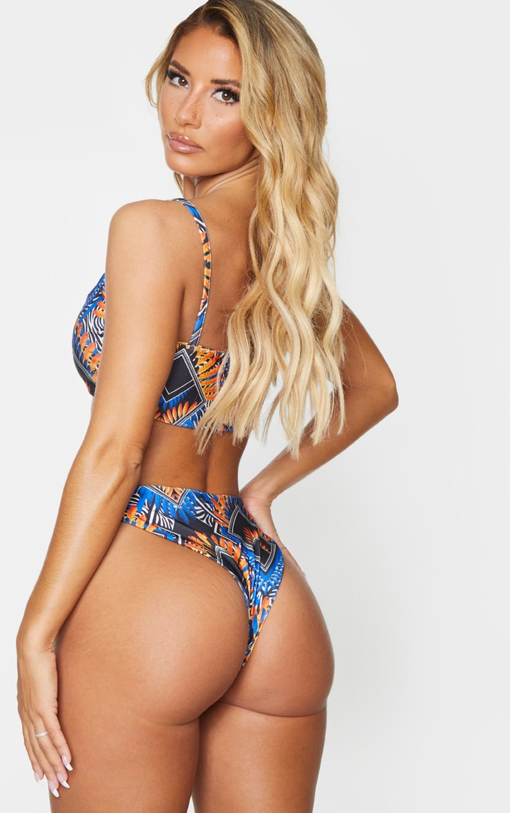 Blue Tribal Scoop Neck Bikini Top 2