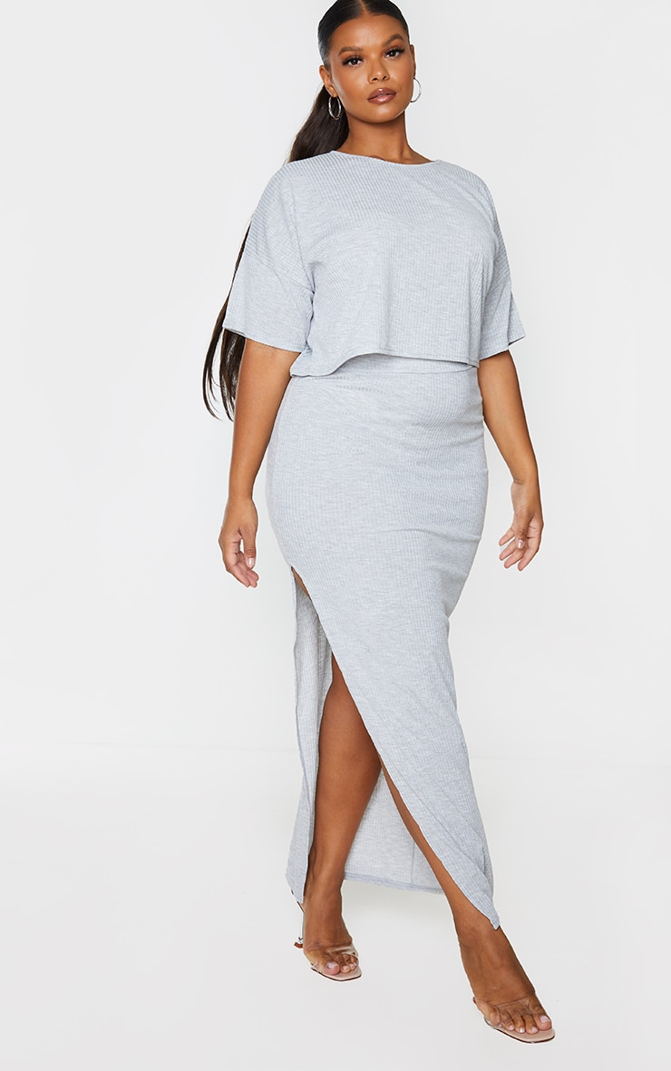 Plus Grey Soft Rib Split Front Maxi Skirt 1