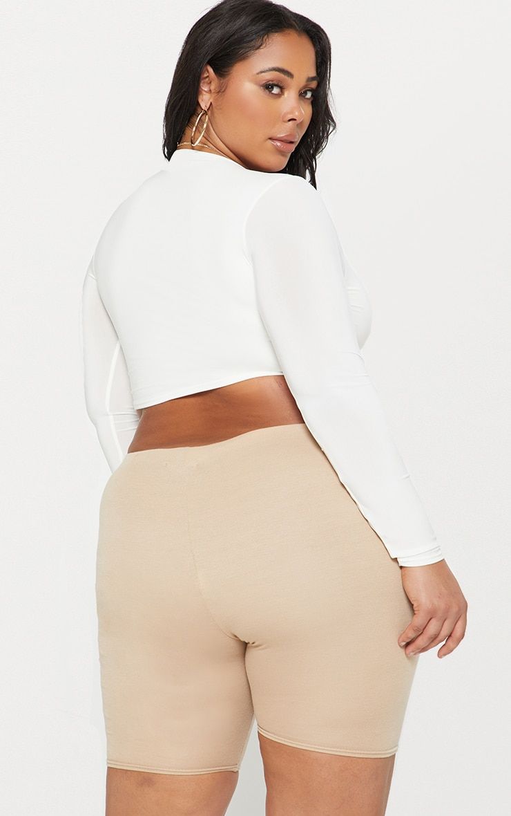 Plus White Second Skin Long Sleeve V Neck Crop Top 2