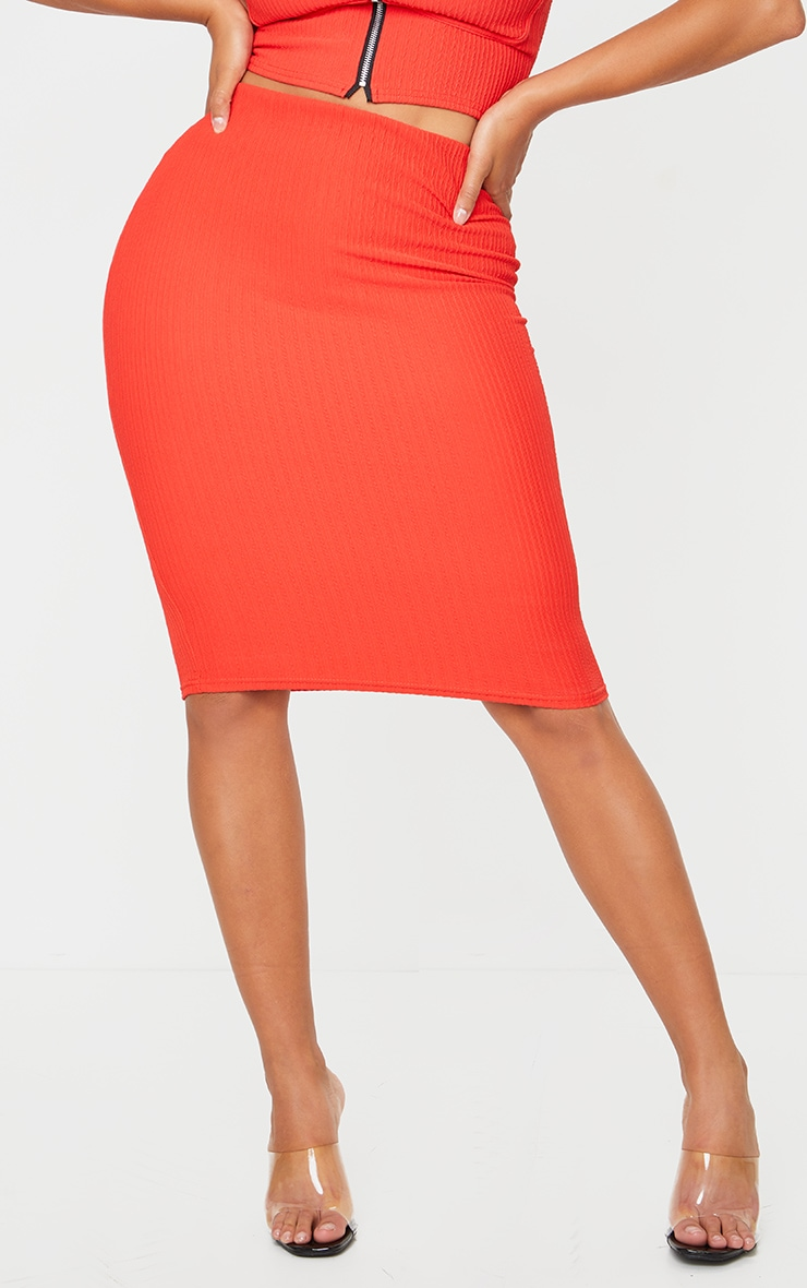 Shape Red Crinkle Rib High Waist Midi Skirt 2
