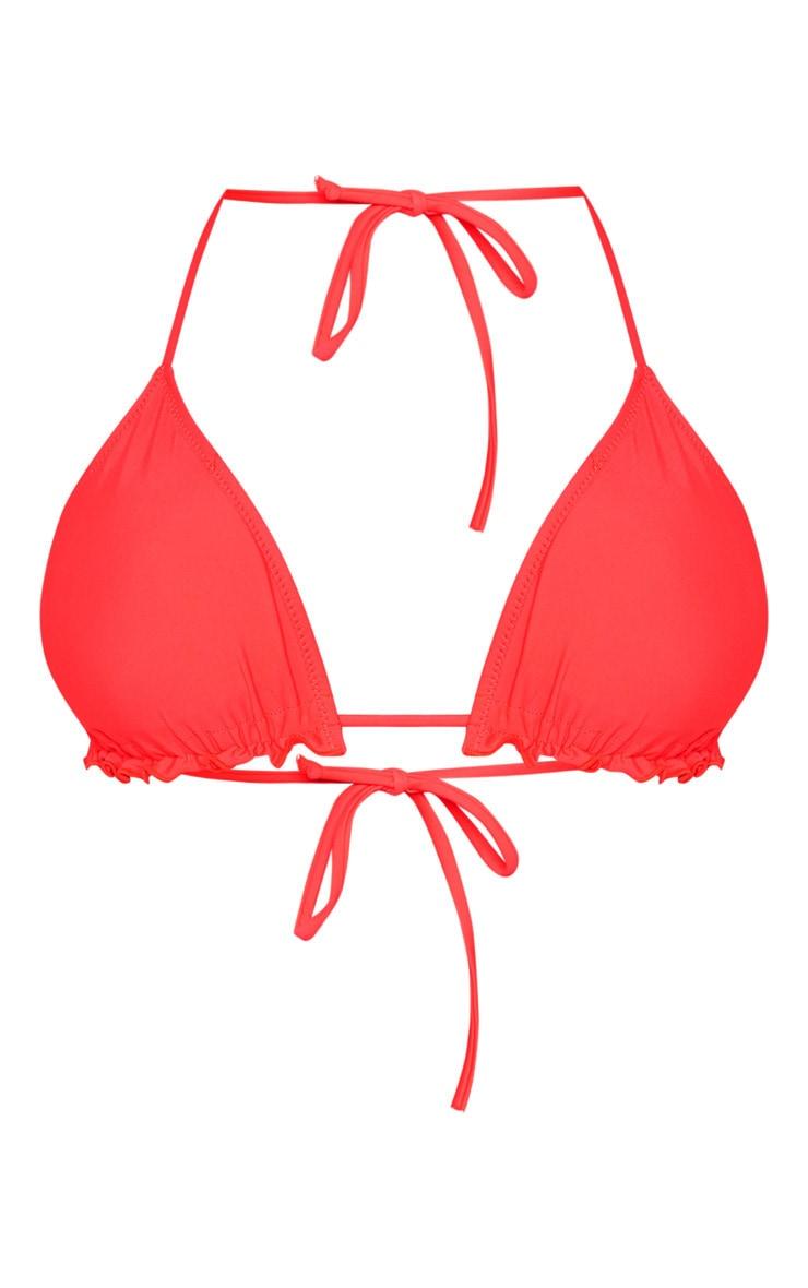 Neon Coral Frill Edge Padded Bikini Top 3