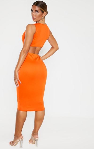 Tangerine Sleeveless Cut Out Back Midi Dress