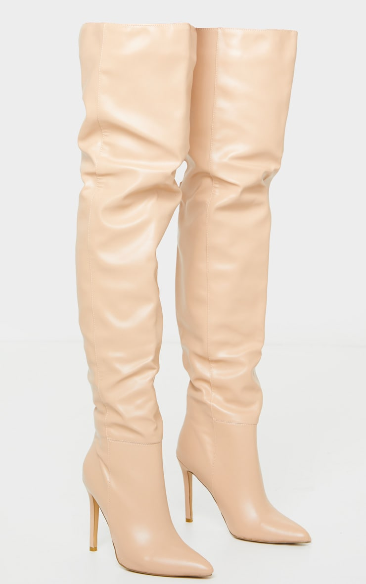 Nude Thigh High Stiletto Boots 3