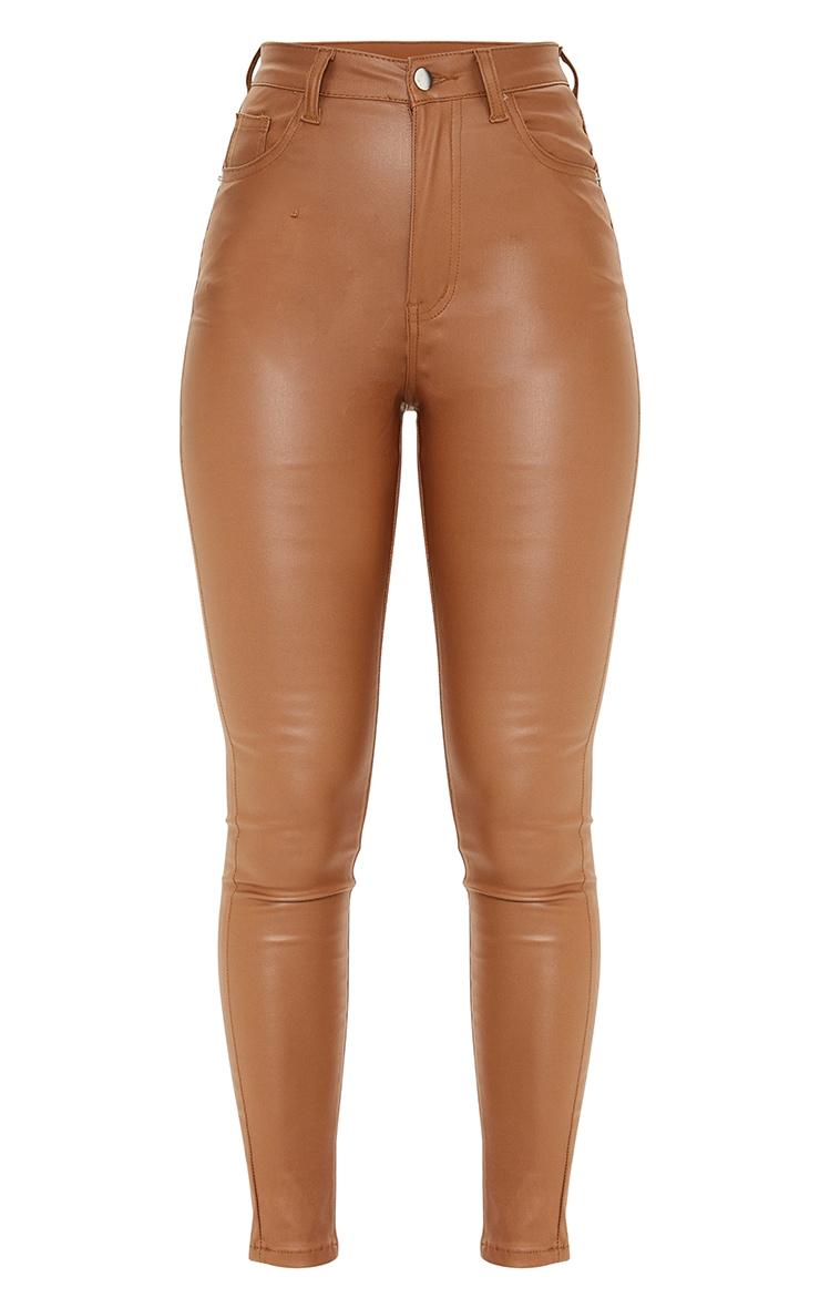Tan Coated Skinny Jeans 5