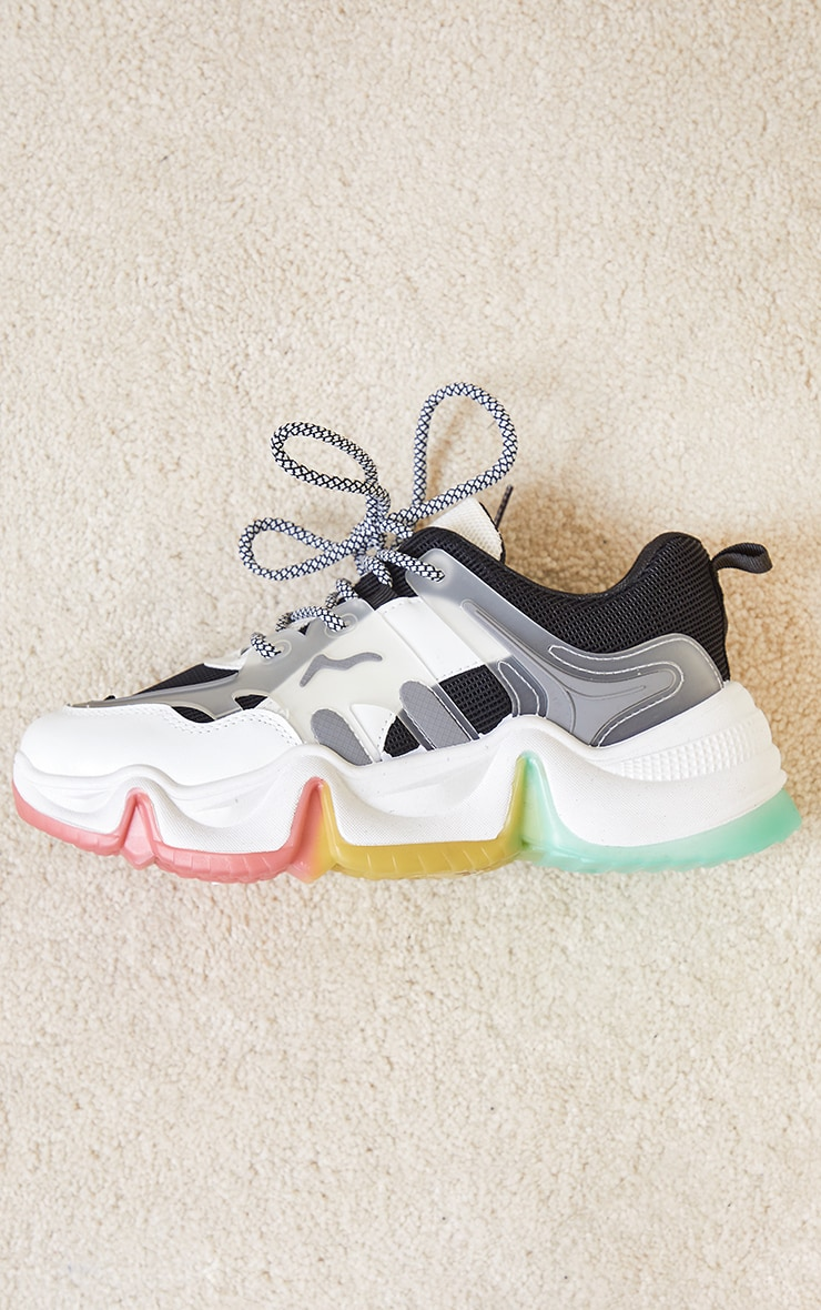 Black Chunky Multi Wave Sole Trainers 4