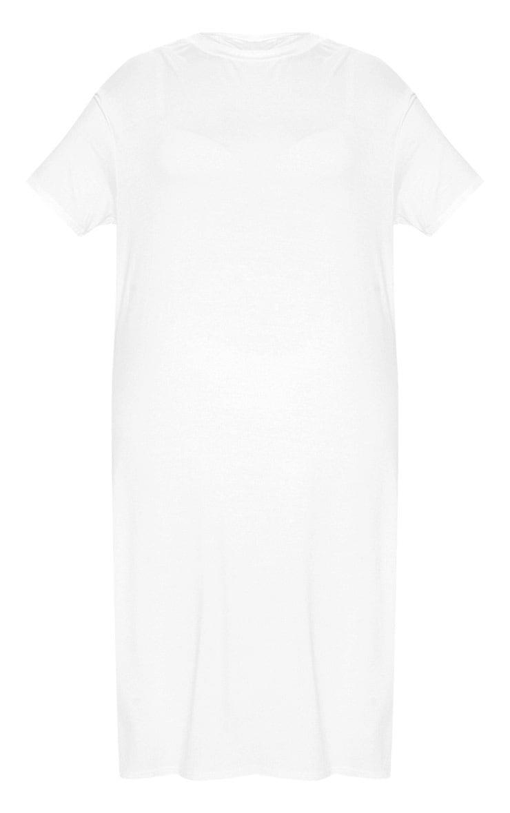 Plus White Oversized Boxy Midi T Shirt Dress 3