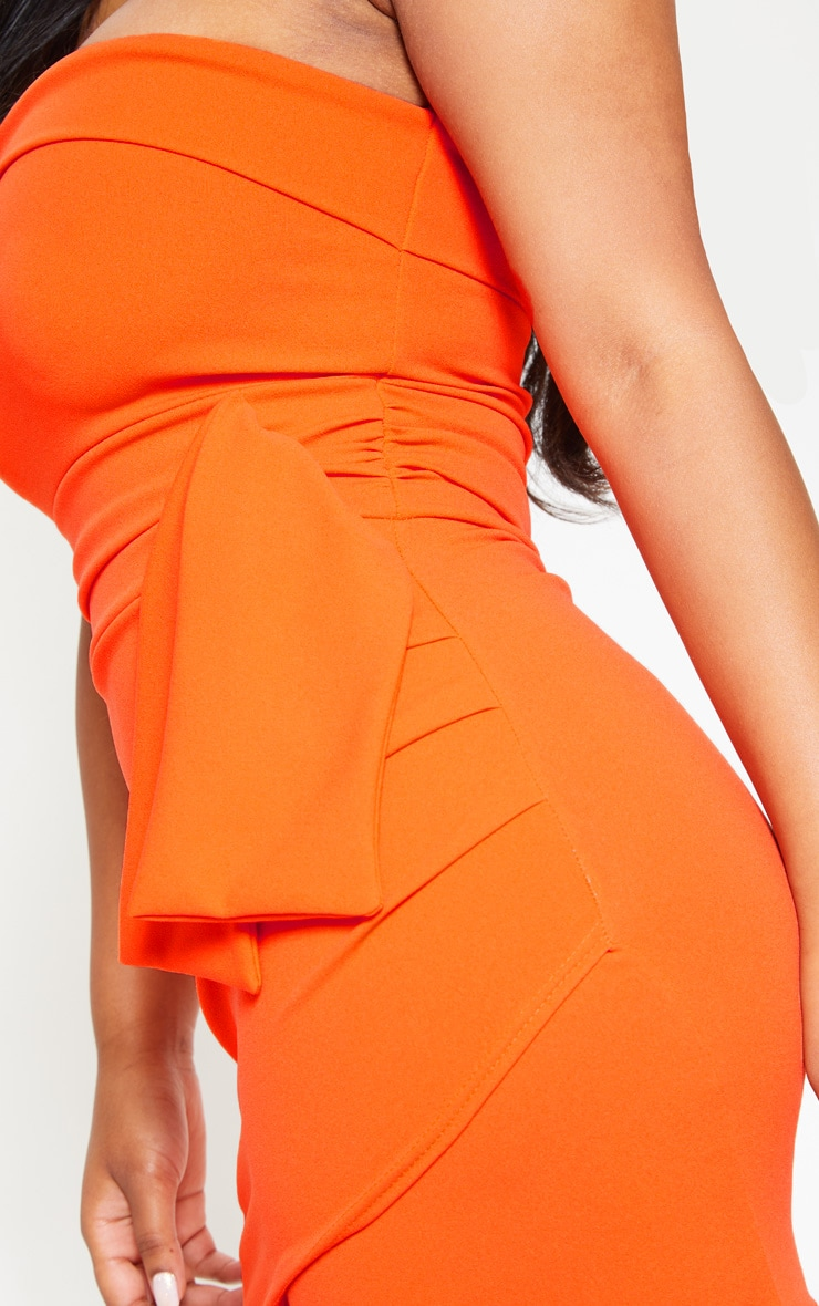 Orange Tie Waist Detail Bandeau Bodycon Dress 5
