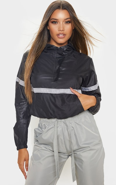 Black Shell Reflective Tape Tracksuit Jacket