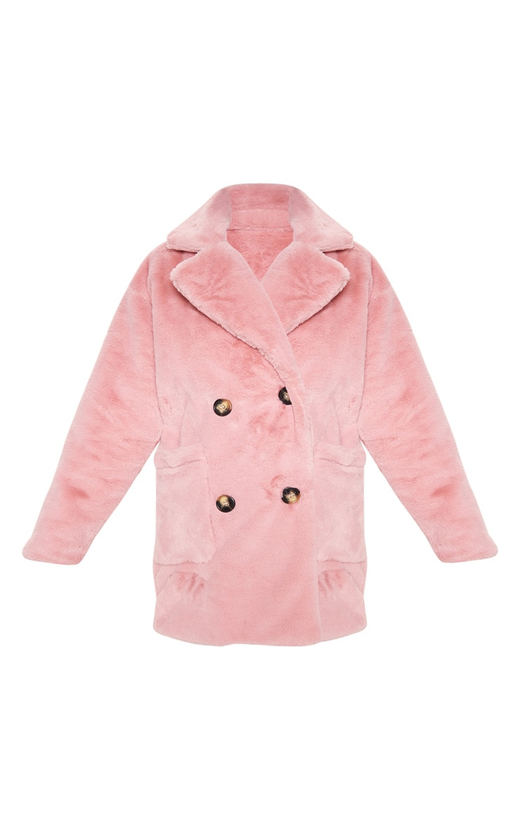 Rose Faux Fur Double Breasted Button Detail Coat 3