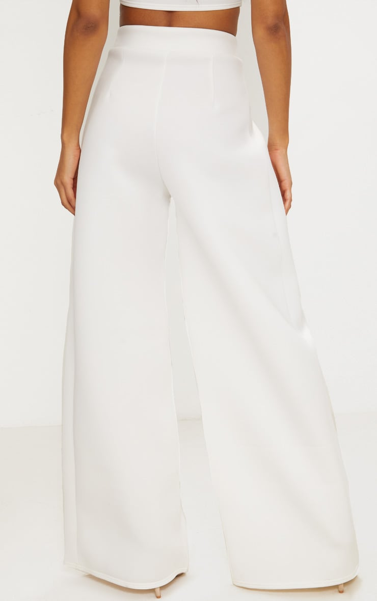 White Bonded Scuba Pleated Extreme Wide Leg Pants 3