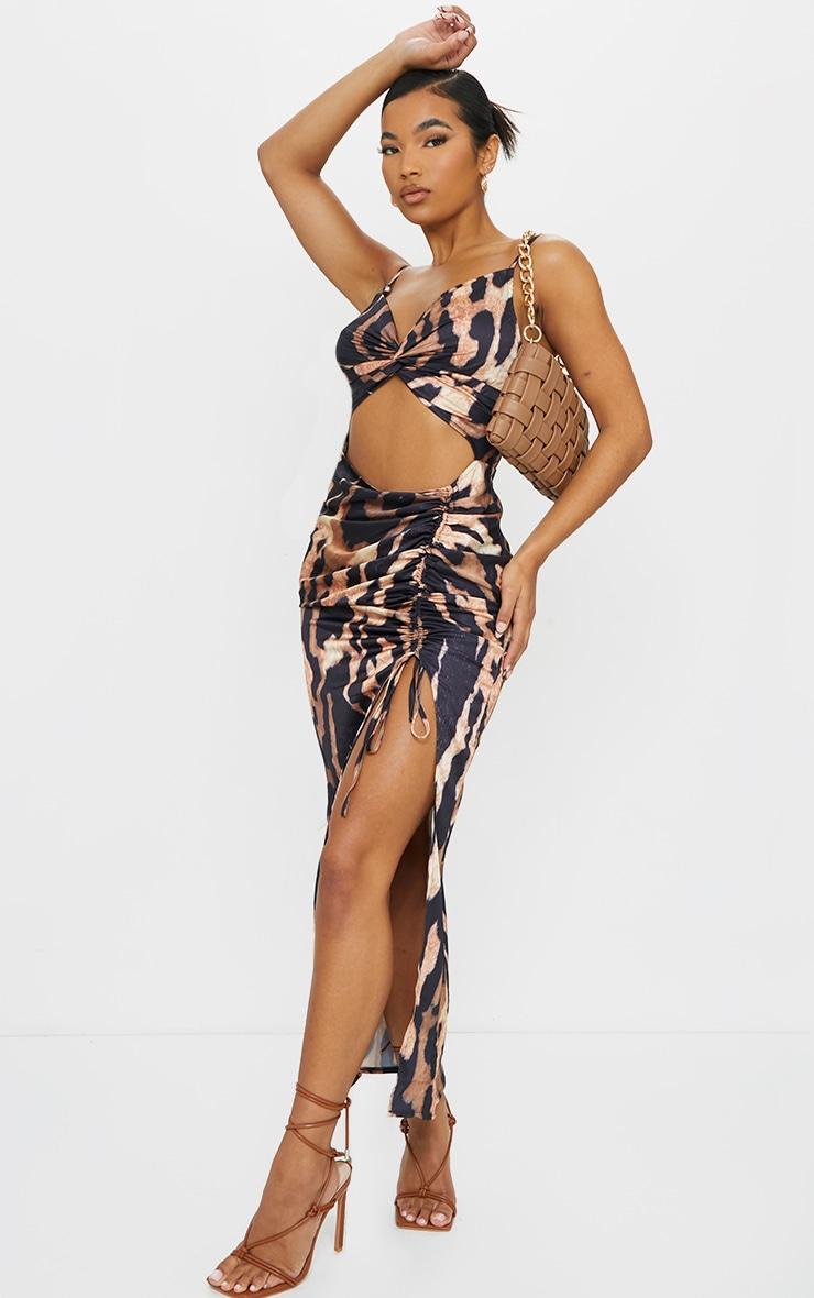 Brown Leopard Print Satin Twist Bust Ruched Maxi Dress 1