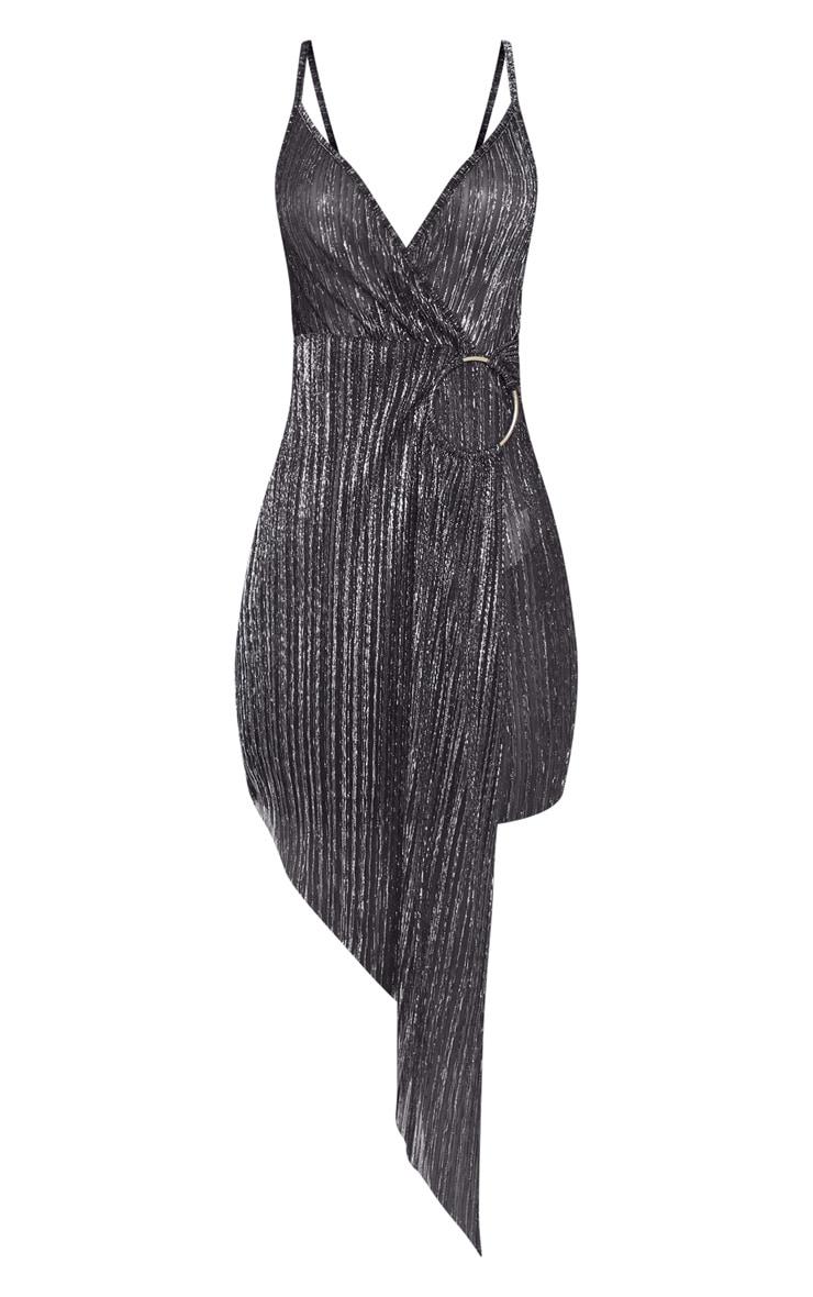 Black Metallic Plisse Ring Detail Drape Bodycon Dress 3