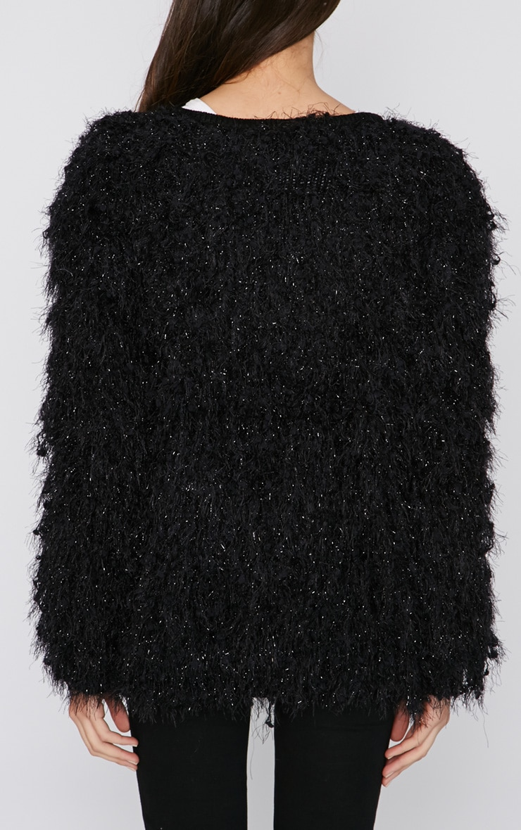 Naima Black Shaggy Knitted Jacket  2
