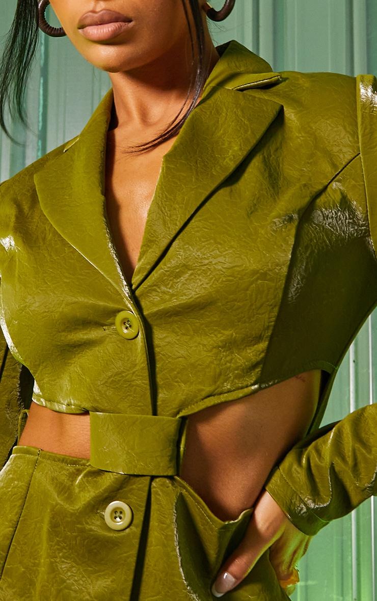 Green Textured PU Long Sleeve Cut Out Waist Blazer Dress 4