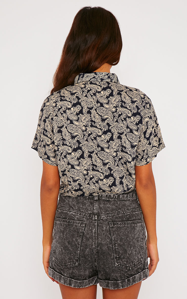 Arizona Black Paisley Tie Front Crop Shirt 2