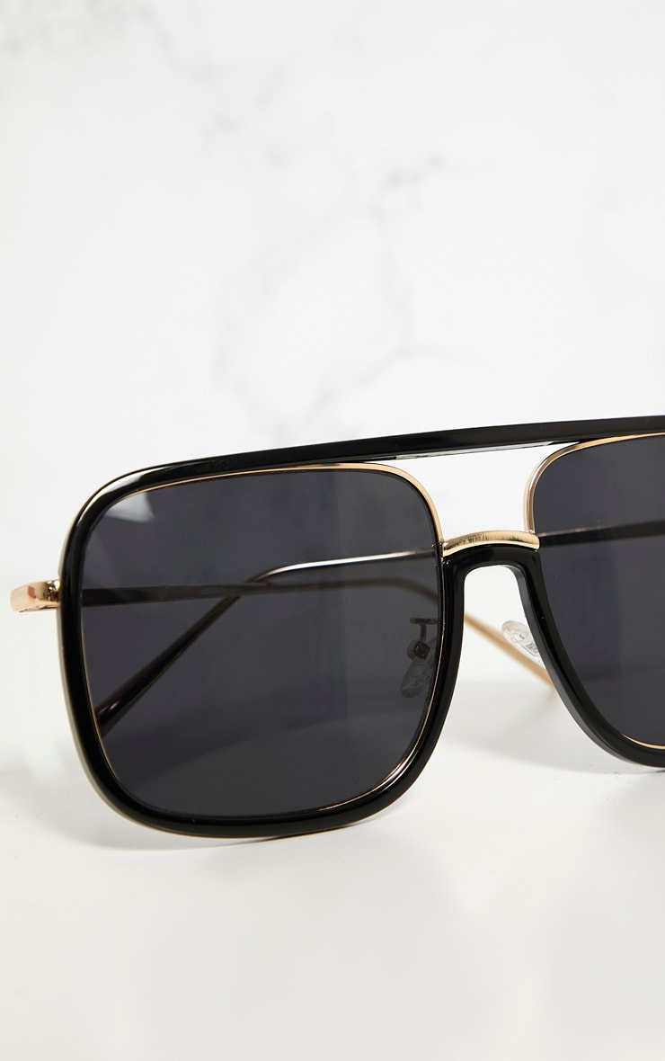Black Aviator Flat Top Sunglasses 4