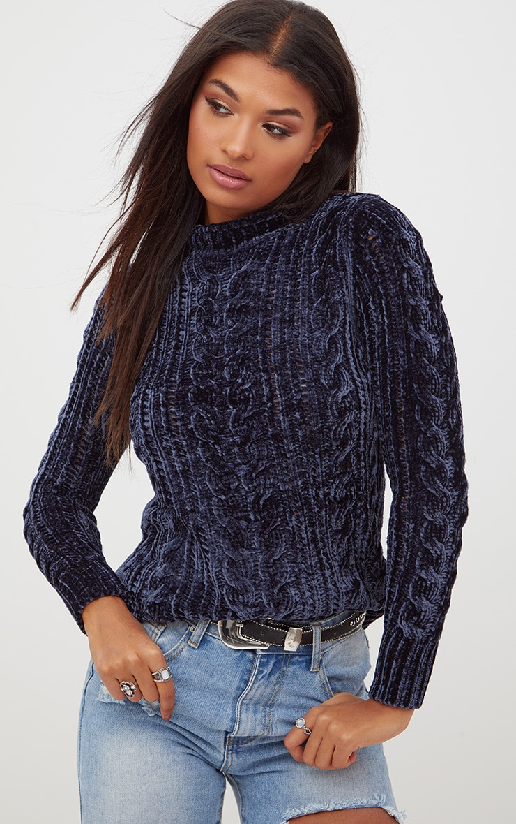 Blue Chenille Cable Jumper 1