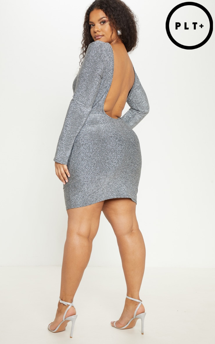 Plus Silver Glitter Scoop Back Bodycon Dress