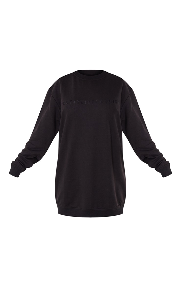 PRETTYLITTLETHING Black Slogan Sweat Sweater Dress 5