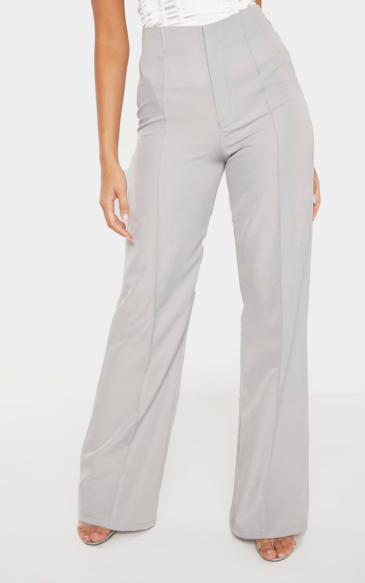 Grey Woven Seam Detail Straight Leg Pants 2