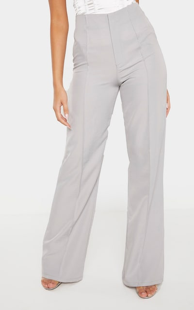 Grey Woven Seam Detail Straight Leg Trouser