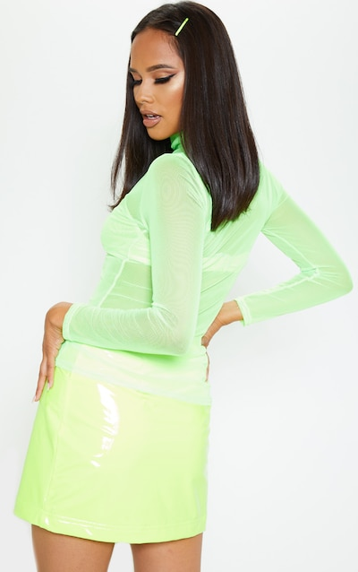 Lime Sheer Mesh High Neck Top