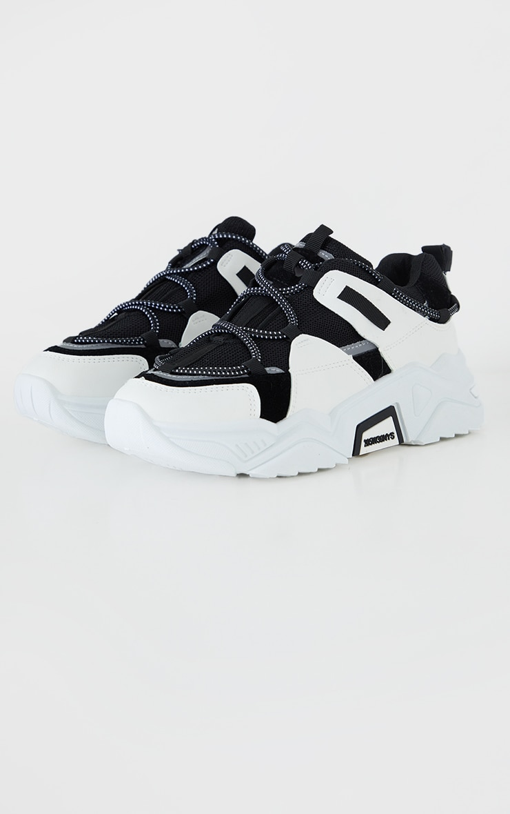 Monochrome PU Chunky Sole Toggle Detail Trainers 1
