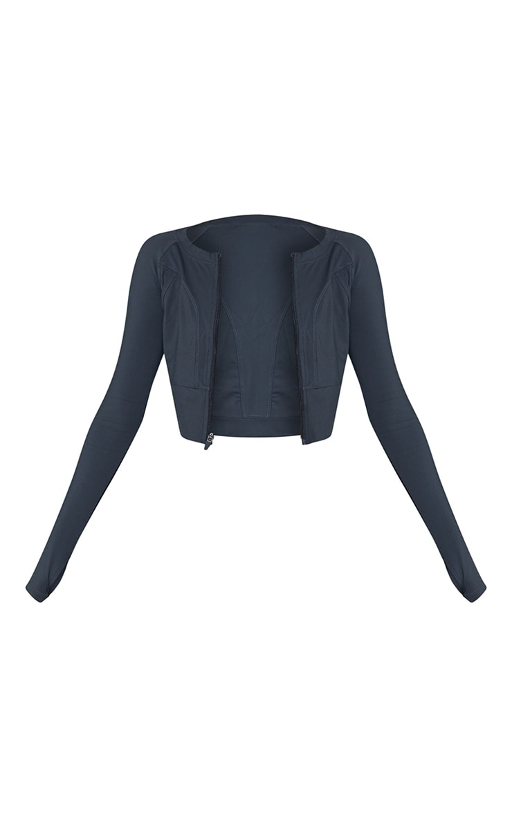 Charcoal Zip Up Cropped Sports Jacket 5