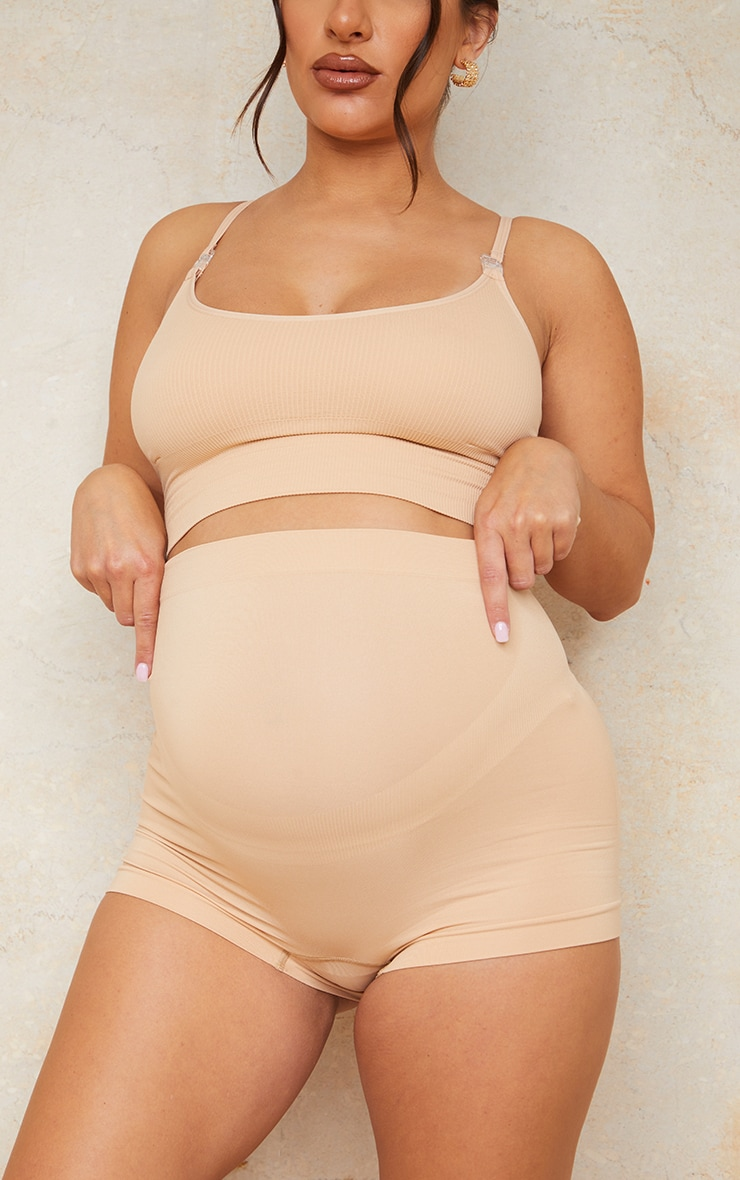 Maternity Camel Seamless Bump Support Shorts 1