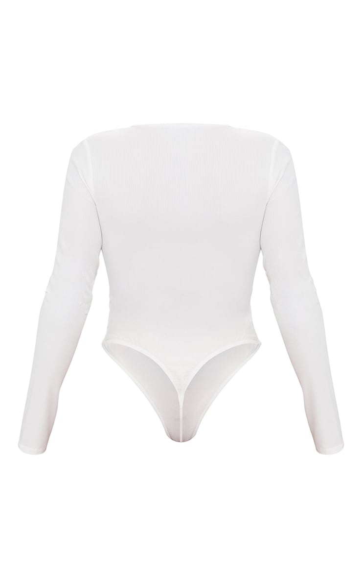 Shape White Button Detail Long Sleeve Ribbed Bodysuit  4
