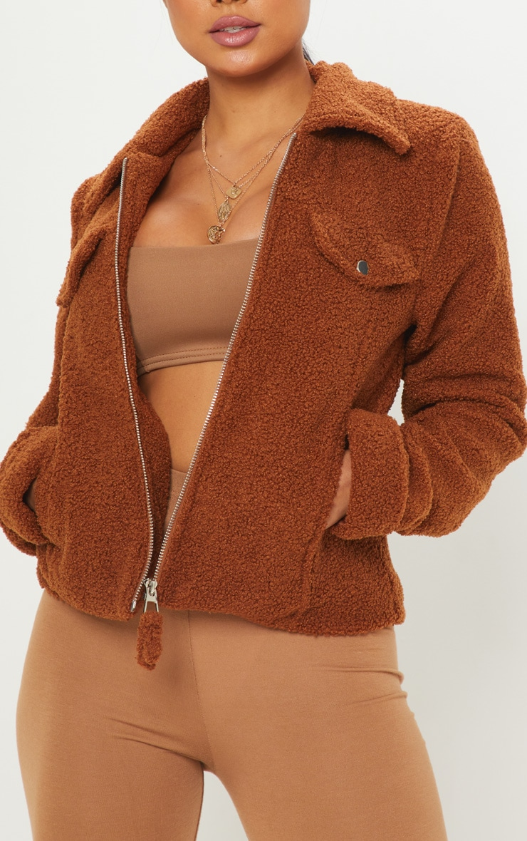 Petite Brown Teddy Fleece Pocket Detail Jacket 5