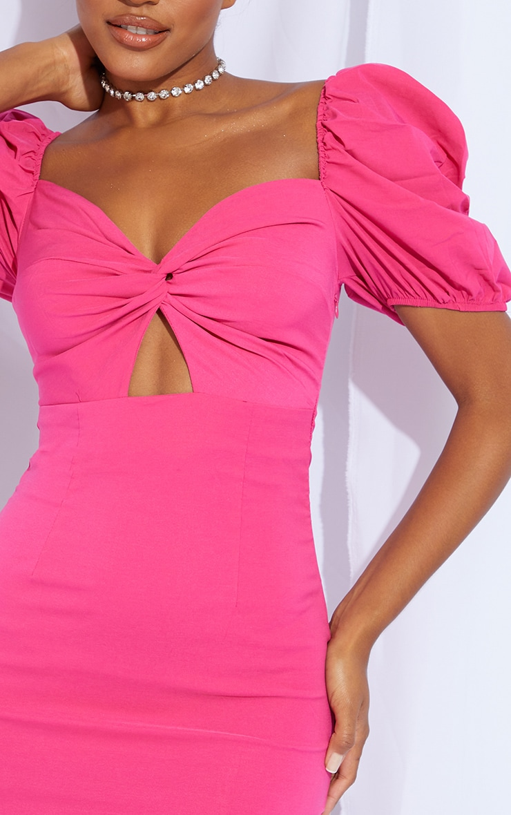 Hot Pink Puff Sleeve Knot Bust Detail Bodycon Dress 4