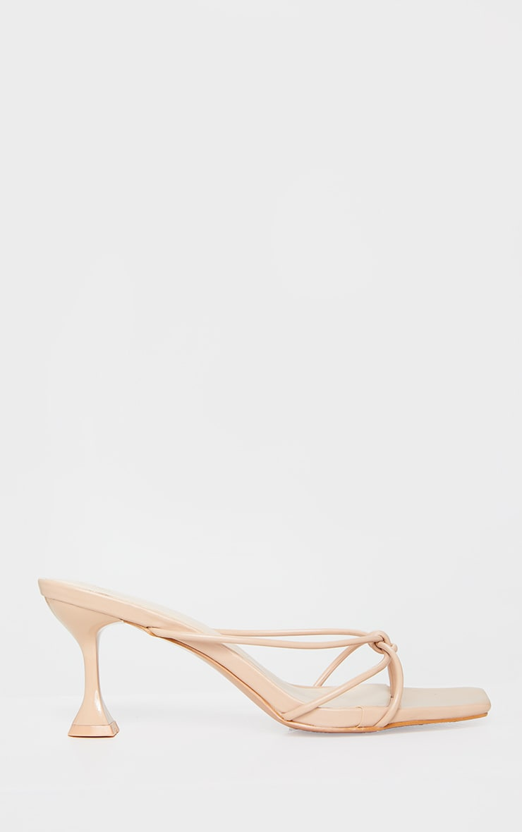Camel Knot Toe Thong Low Heel Cake Stand Mules 3