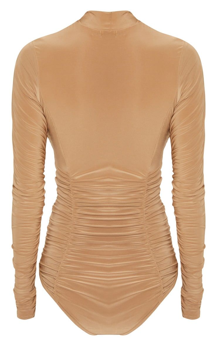 Champagne Slinky High Neck Ruched Bodysuit 4