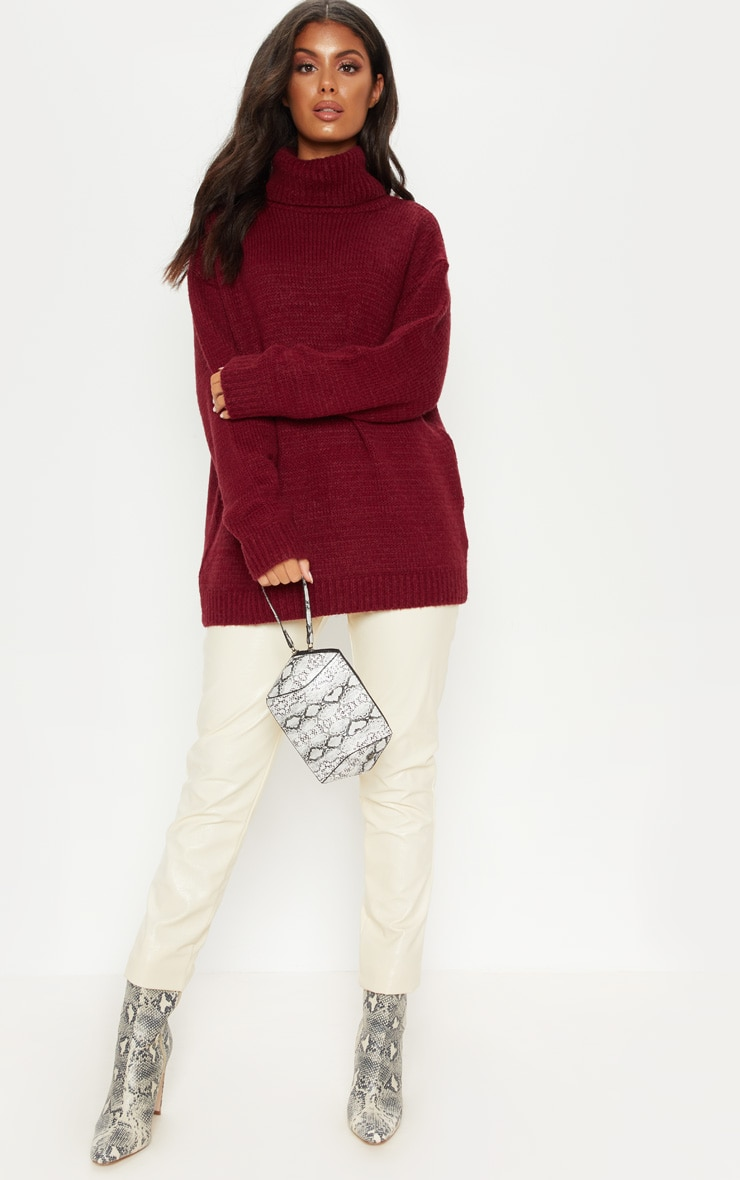Burgundy High Neck Fluffy Knit Sweater  1