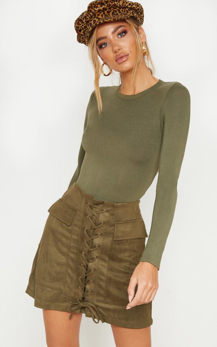 Khaki Faux Suede Lace Up Detail Mini Skirt 1