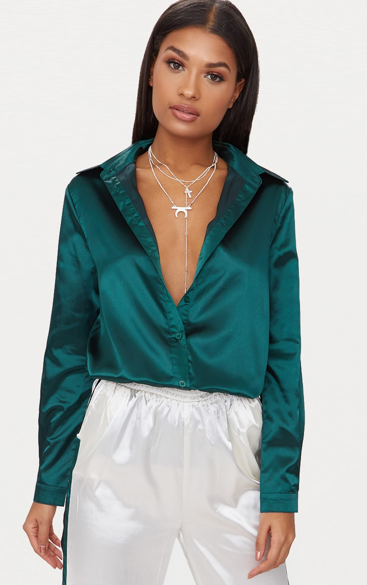 d9eb36abaf98d4 Emerald green Satin Button front Shirt image 1
