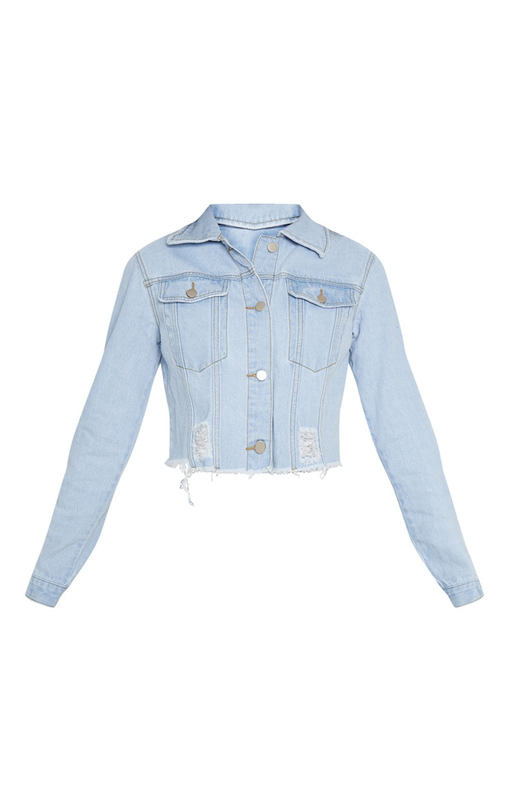 Tall Light Wash Cropped Denim Jacket 4