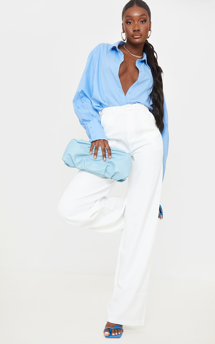 Tall White Wide Leg Dad Trousers 1