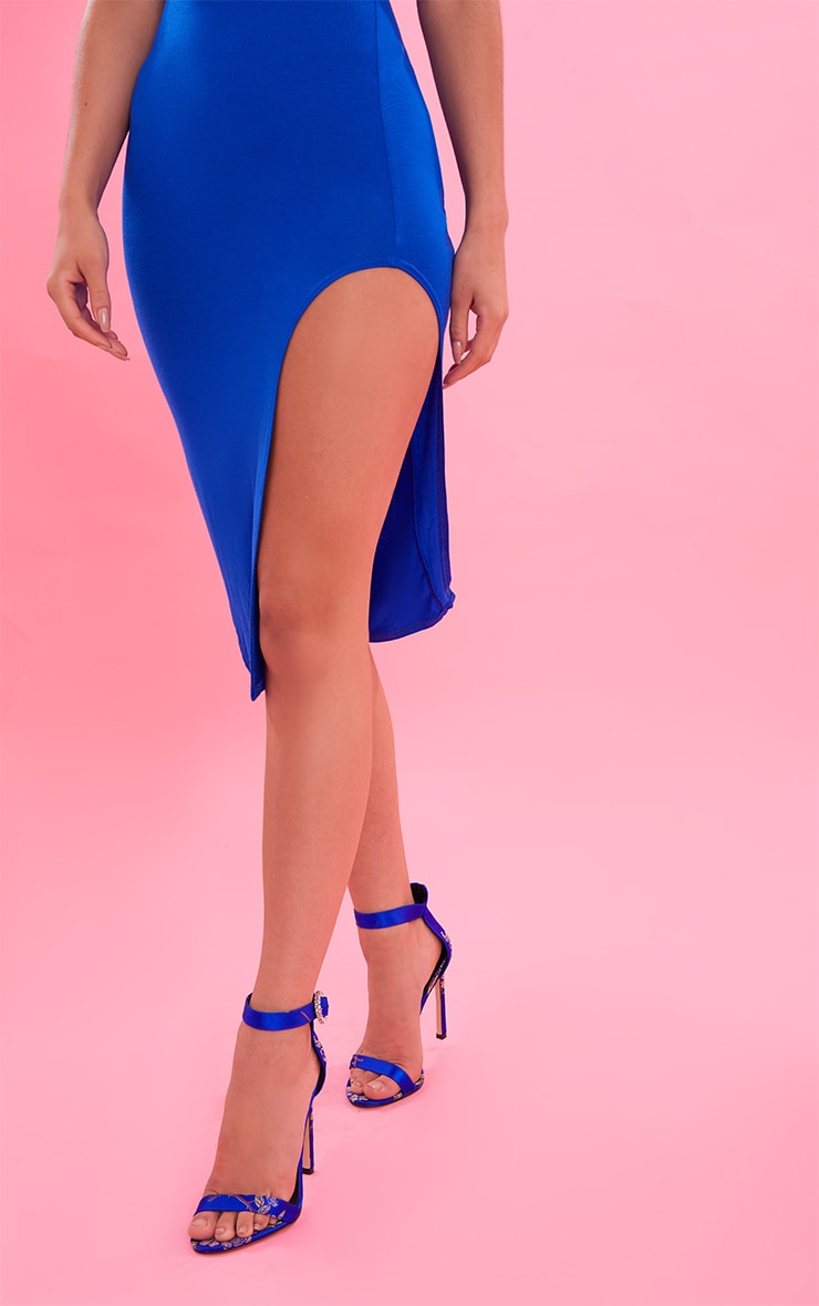 Cobalt Bandeau Split Front Midi Dress 6