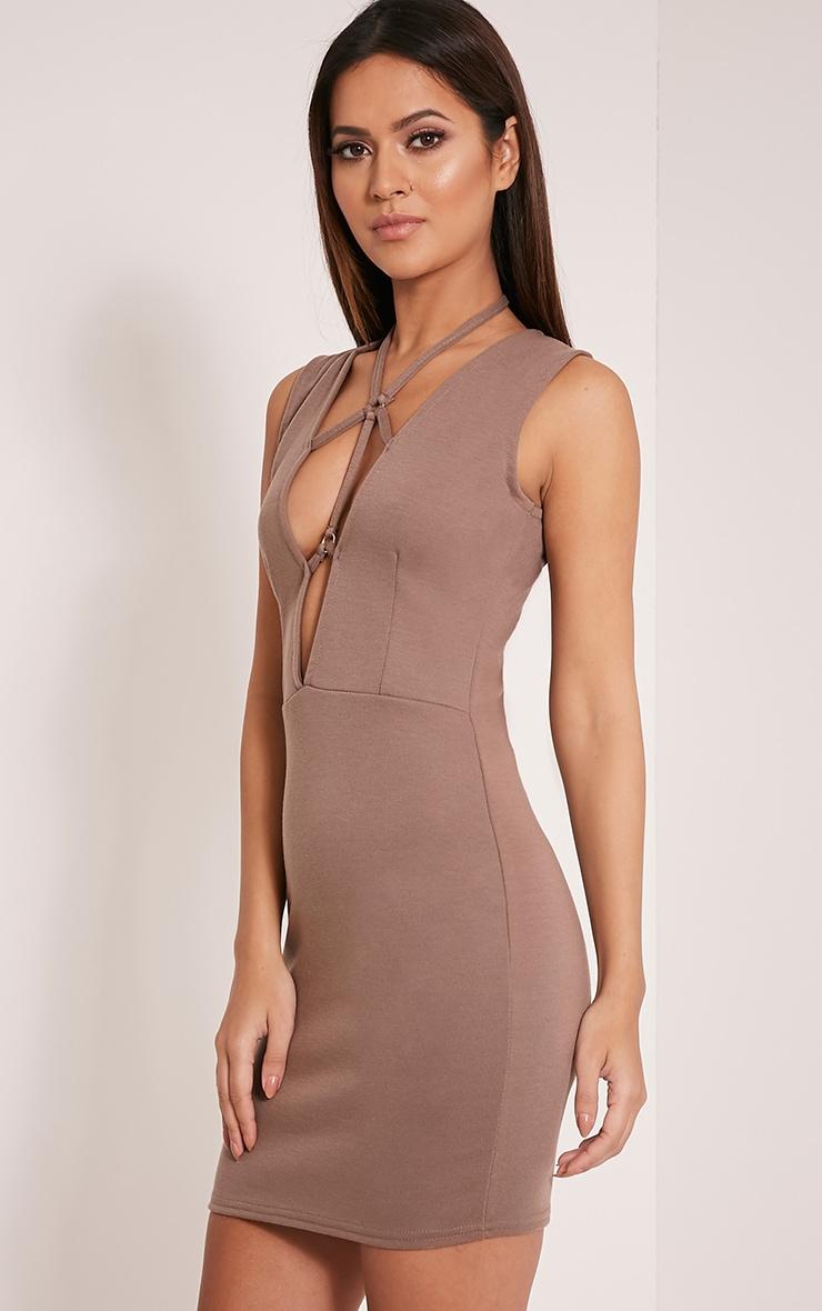 Raynie Mocha Sleeveless Harness Bodycon Dress 4