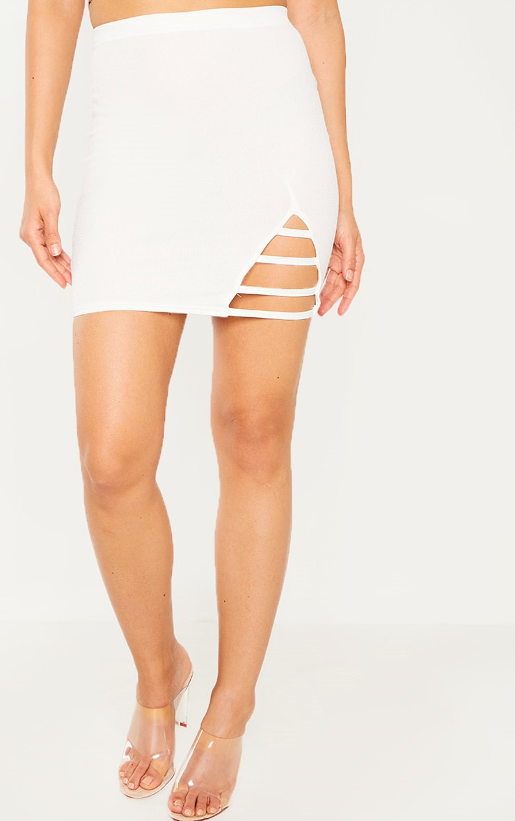 Cream Ladder Detail Mini Skirt  2