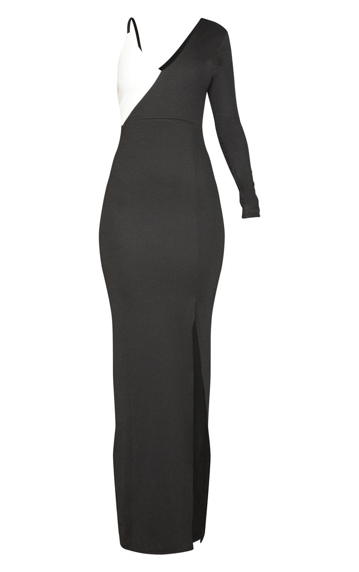 Black Colour Block Asymmetric Sleeve Maxi Dress 3