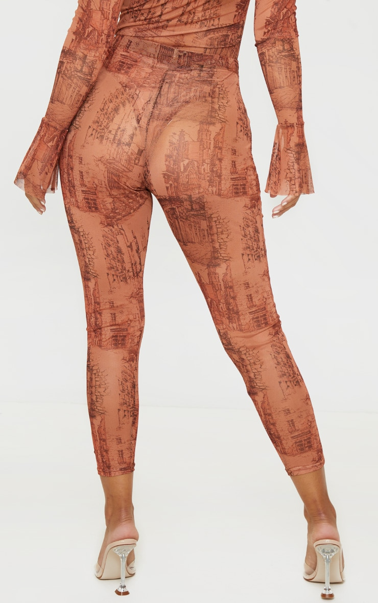 Petite Orange Sketch Print Mesh Legging 4